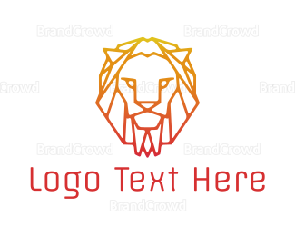 Gradient Orange Lion Logo Maker