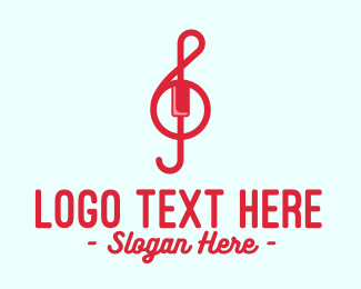 Treble Clef - Red Treble Clef logo design
