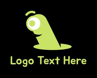 Worm - Red Earthworm logo design