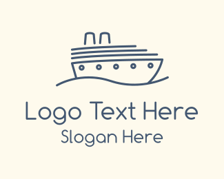 Destroyer - Blue Cruise Ship logo design
