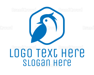 Aviary - Blue Small Bird logo design