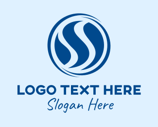 Swirly - Blue Swirly Letter S  logo design