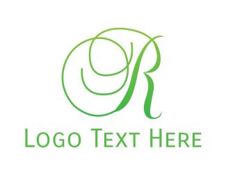 Curvy - Curvy Green R logo design