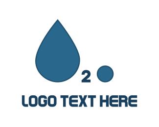 Hydrogen - H2O Water Drop logo design