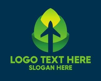 Flight Tracker - Green Leaf Airplane logo design