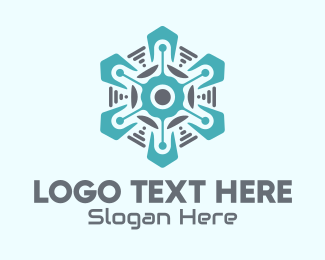 Airconditioning - Tech Snowflake logo design