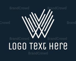 White - White W Line Stroke logo design
