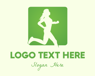 Fitness App - Green Jogging Woman logo design