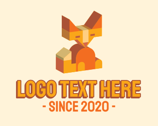 Coyote - 3d Geometric Fox logo design