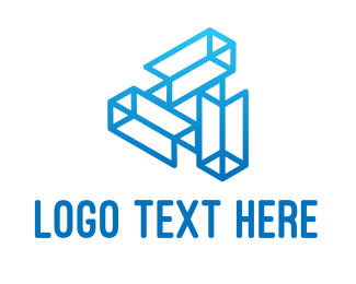 High Tech - Blue Tech Wireframe logo design