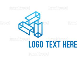 3d - Blue Tech Wireframe logo design
