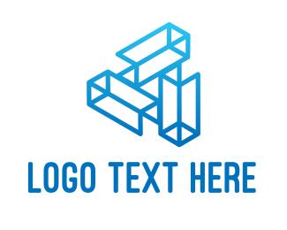 Wireframe - Blue Tech Startup Wireframe logo design
