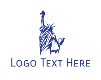 Ny - Blue Status of Liberty logo design