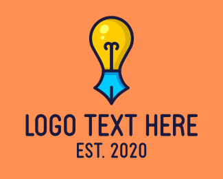 Learning - Creative Writing Light Bulb logo design