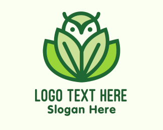 Bird Of Prey - Green Eco Owl Bird logo design