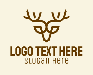 Hunt - Minimalist Brown Reindeer  logo design