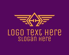 Authority - Golden Wings Badge logo design