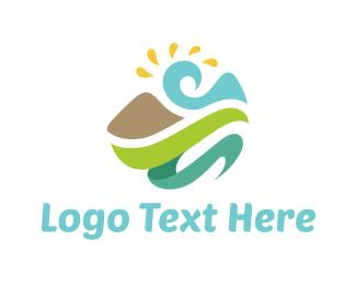 Lagoon - Abstract Natural Landscape logo design