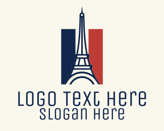 Culture - Eiffel Tower France Flag  logo design
