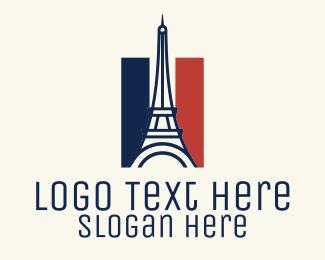 France - Eiffel Tower France Flag logo design