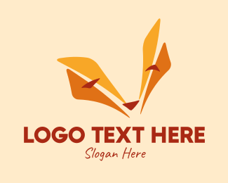 Animal - Orange Fox Face  logo design
