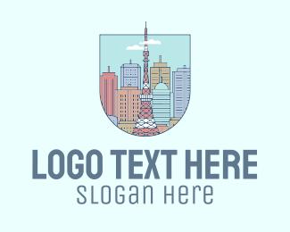 Beijing - Tokyo City Scenery logo design