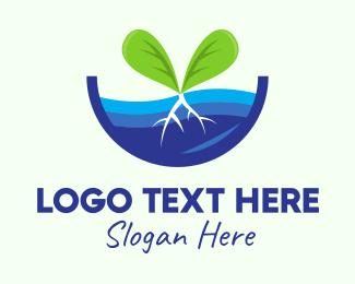 Mangrove Forest - Water Plant Seedling logo design