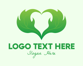 Nature Lover - Green Organic Heart logo design