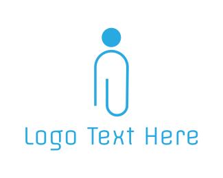 Blue Office Man Logo