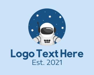 Scientist - Astronaut Galaxy Exploration logo design