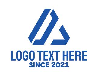 Geometrical - Blue Geometric Letter A logo design