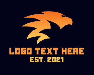Flammable - Flaming Tribal Bird logo design