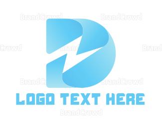Electrical Energy - Thunder Letter D logo design