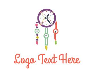 Clock - Time Catcher logo design