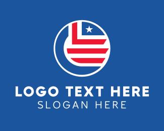 State - Star & Stripes Flag Emblem  logo design