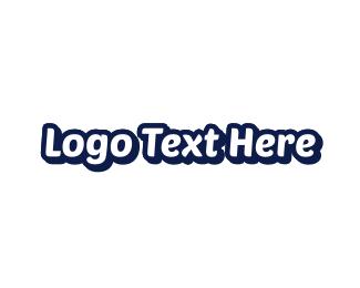 Pure - White & Blue logo design