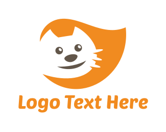 Cat And Dog - Orange Happy Cat logo design