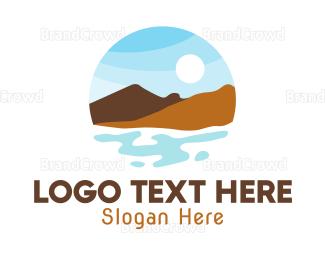 Everest - Mountain Lake Badge logo design