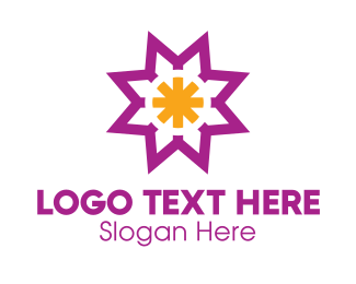 Asterisk - Purple Yellow Asterisk logo design