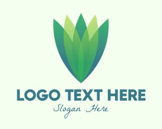 Flower Bud - Green Gradient Eco Leaves logo design