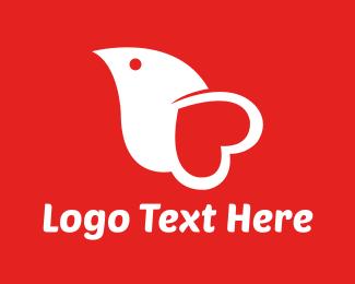 Valentine - Heart Bird logo design