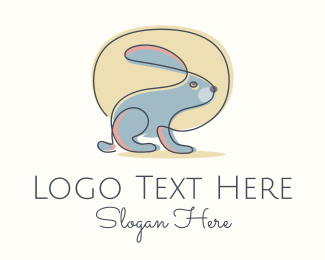 Fluffy - Simple Rabbit Monoline logo design