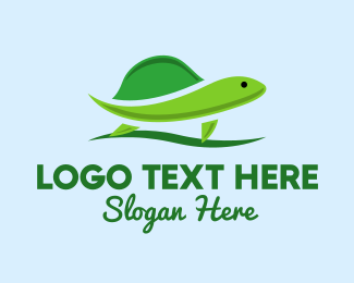 Zoo Animal - Green Turtle logo design