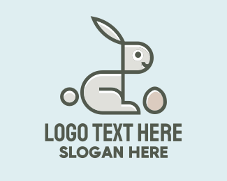 Egg Hunting - Geometric Bunny Egg logo design