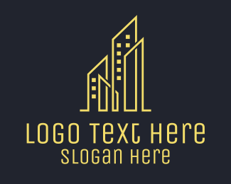 Property Sales - Yellow Skyscraper Cluster logo design
