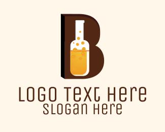 Bartender - Beer Bottle Letter B logo design