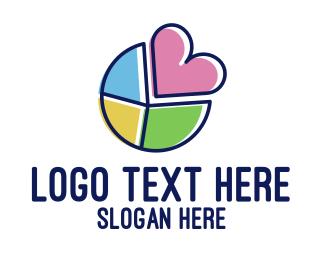 Pacman - Colorful Heart Slice  logo design