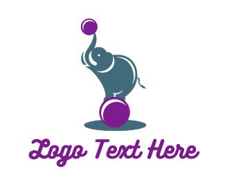 Carnival - Acrobat Elephant logo design