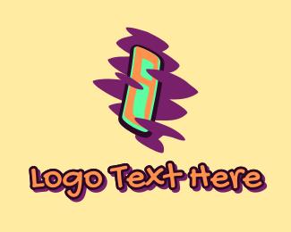 Beatbox - Graffiti Art Letter I logo design