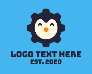 Penguin - Happy Penguin Cog logo design